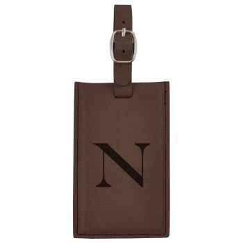 Northeastern University -Leatherette Luggage Tag-Brown