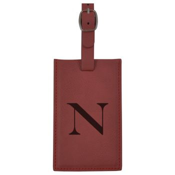 Northeastern University -Leatherette Luggage Tag-Burgundy