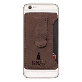Howard University -Leatherette Cell Phone Card Holder-Brown