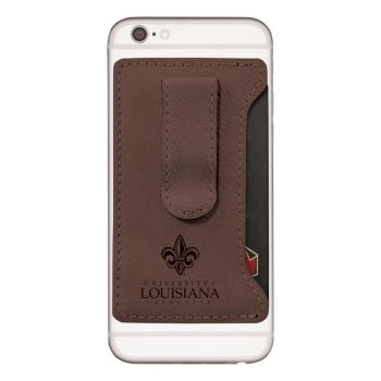 University of Louisiana at Lafayette-Leatherette Cell Phone Card Holder-Brown