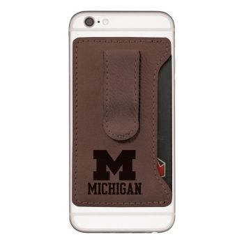 University of Michigan -Leatherette Cell Phone Card Holder-Brown
