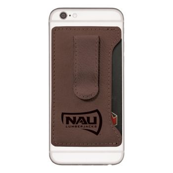 Northern Arizona University -Leatherette Cell Phone Card Holder-Brown