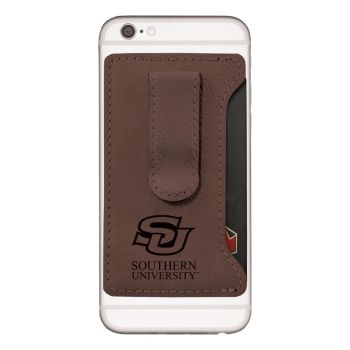Southern University -Leatherette Cell Phone Card Holder-Brown