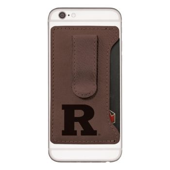 Rutgers University -Leatherette Cell Phone Card Holder-Brown