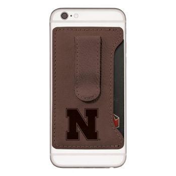 University of Nebraska-Leatherette Cell Phone Card Holder-Brown