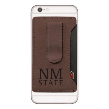 New Mexico State-Leatherette Cell Phone Card Holder-Brown