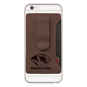 University of Missouri -Leatherette Cell Phone Card Holder-Brown