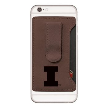 University of Illinois -Leatherette Cell Phone Card Holder-Brown