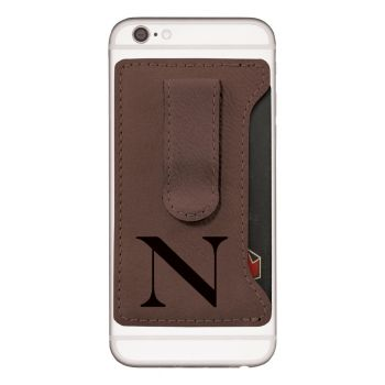 Northeastern University -Leatherette Cell Phone Card Holder-Brown