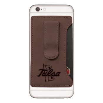 University of Tulsa-Leatherette Cell Phone Card Holder-Brown