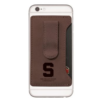 Michigan State University-Leatherette Cell Phone Card Holder-Brown