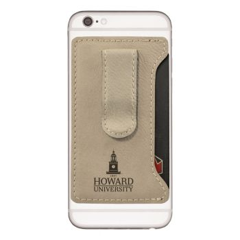 Howard University -Leatherette Cell Phone Card Holder-Tan