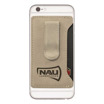Northern Arizona University -Leatherette Cell Phone Card Holder-Tan