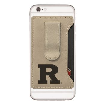 Rutgers University -Leatherette Cell Phone Card Holder-Tan