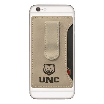 University of Northern Colorado -Leatherette Cell Phone Card Holder-Tan