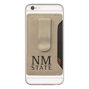 New Mexico State-Leatherette Cell Phone Card Holder-Tan