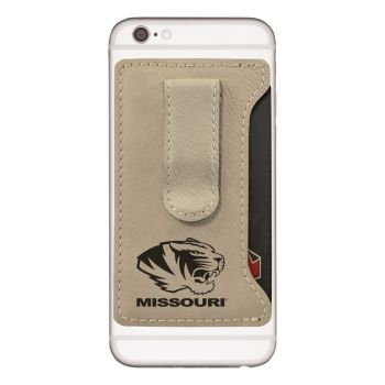 University of Missouri -Leatherette Cell Phone Card Holder-Tan