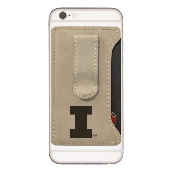 University of Illinois -Leatherette Cell Phone Card Holder-Tan