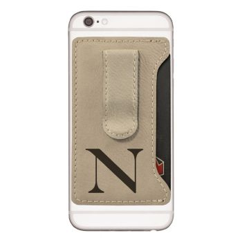 Northeastern University -Leatherette Cell Phone Card Holder-Tan