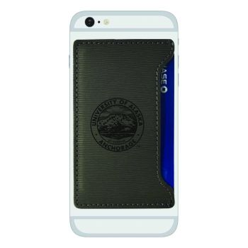 University of Alaska Anchorage-Textured Faux Leather Cell Phone Card Holder-Grey