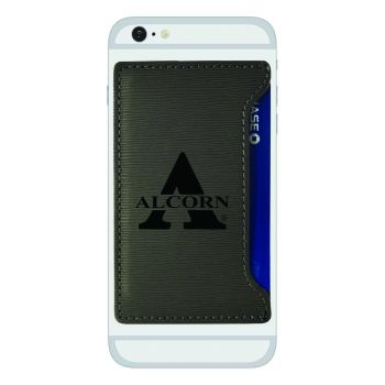 Alcorn State University-Textured Faux Leather Cell Phone Card Holder-Grey