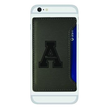 Appalachian State University-Textured Faux Leather Cell Phone Card Holder-Grey