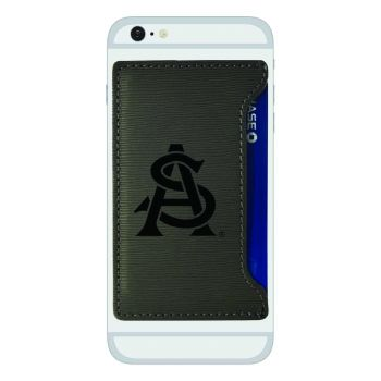 Arizona State University-Textured Faux Leather Cell Phone Card Holder-Grey