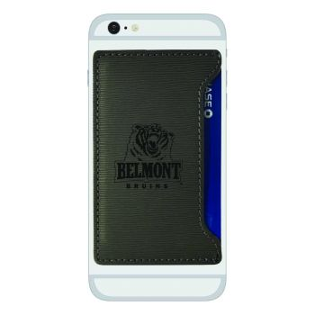 Belmont University-Textured Faux Leather Cell Phone Card Holder-Grey