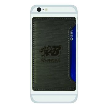 Binghamton University-Textured Faux Leather Cell Phone Card Holder-Grey