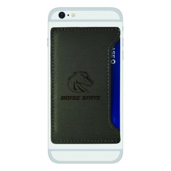 Boise State University-Textured Faux Leather Cell Phone Card Holder-Grey