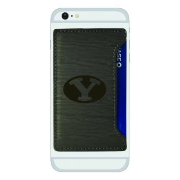Brigham Young University-Textured Faux Leather Cell Phone Card Holder-Grey