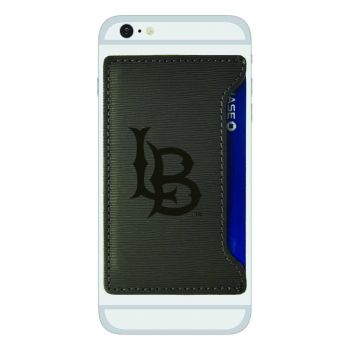 Long Beach State University-Textured Faux Leather Cell Phone Card Holder-Grey