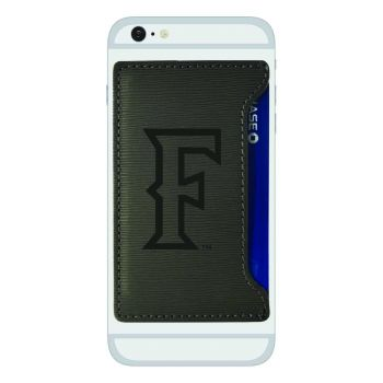California State Univeristy Fullerton -Textured Faux Leather Cell Phone Card Holder-Grey