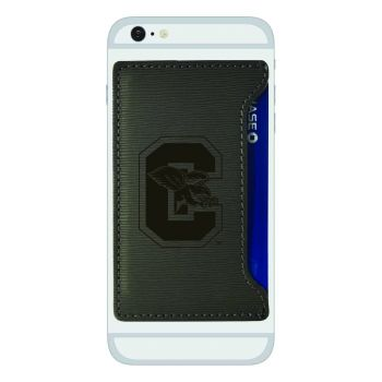 Canisus College-Textured Faux Leather Cell Phone Card Holder-Grey