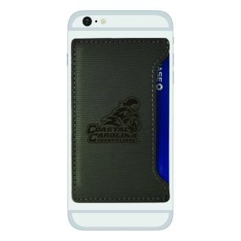 Coastal Carolina University-Textured Faux Leather Cell Phone Card Holder-Grey