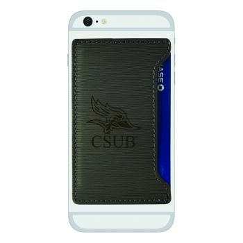 California State University, Bakersfield-Textured Faux Leather Cell Phone Card Holder-Grey