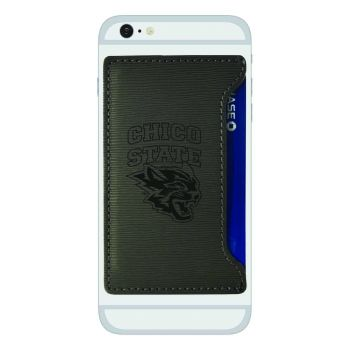 California State University, Chico-Textured Faux Leather Cell Phone Card Holder-Grey
