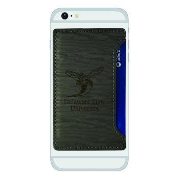 Delaware State University-Textured Faux Leather Cell Phone Card Holder-Grey