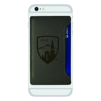 University of Denver-Textured Faux Leather Cell Phone Card Holder-Grey