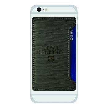 DePaul University-Textured Faux Leather Cell Phone Card Holder-Grey