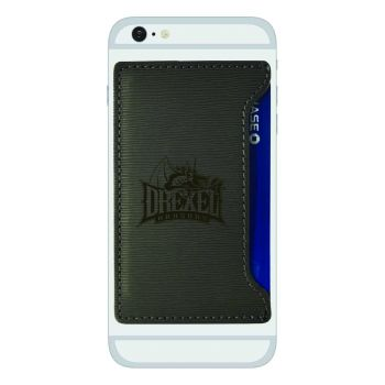 Drexel University-Textured Faux Leather Cell Phone Card Holder-Grey