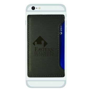 Eastern Illinois University-Textured Faux Leather Cell Phone Card Holder-Grey
