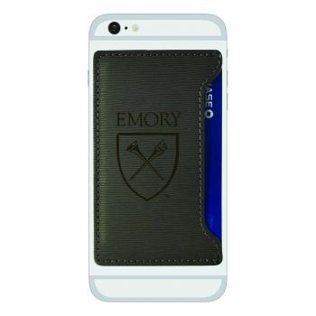 Emory University-Textured Faux Leather Cell Phone Card Holder-Grey