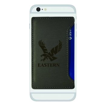 Eastern Washington University-Textured Faux Leather Cell Phone Card Holder-Grey