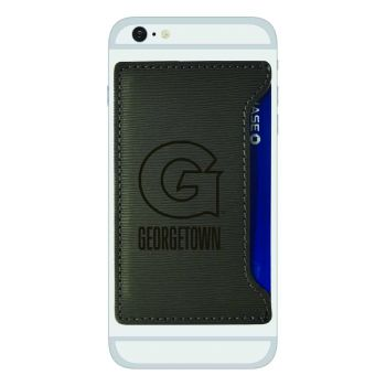 Georgetown University-Textured Faux Leather Cell Phone Card Holder-Grey