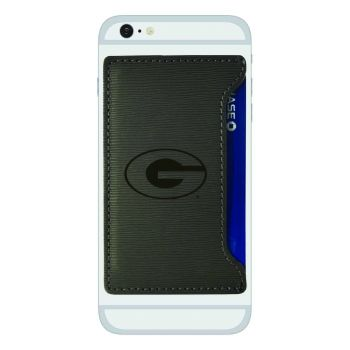 Grambling State University-Textured Faux Leather Cell Phone Card Holder-Grey