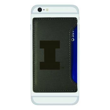University of Illinois -Textured Faux Leather Cell Phone Card Holder-Grey