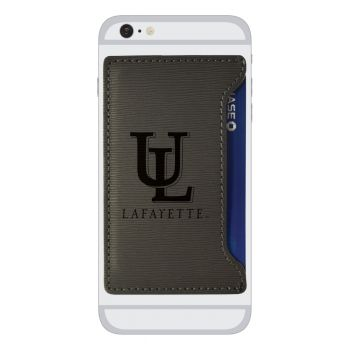 University of Louisiana at Lafayette-Textured Faux Leather Cell Phone Card Holder-Grey