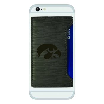 University of Iowa-Textured Faux Leather Cell Phone Card Holder-Grey