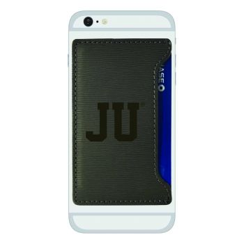 Jacksonville University-Textured Faux Leather Cell Phone Card Holder-Grey